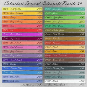 Colorchart Derwent Coloursoft Pencils 36