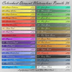 Colorchart Derwent Watercolour Pencils 36