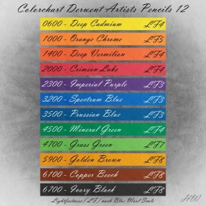 Colorchart Derwent Artists Pencils 12