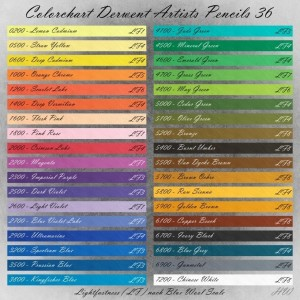Colorchart Derwent Artists Pencils 36